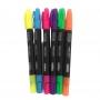 Kit Marca Texto Neon ponta dupla | 6 cores