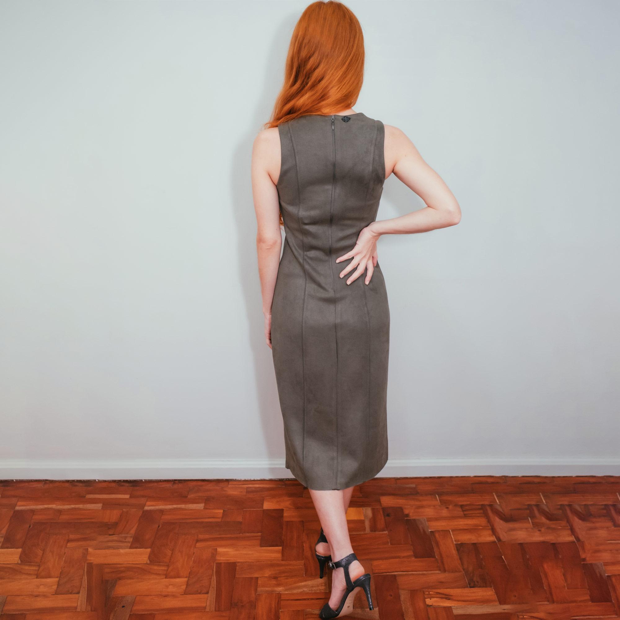 Vestido Midi Morena Rosa Suede