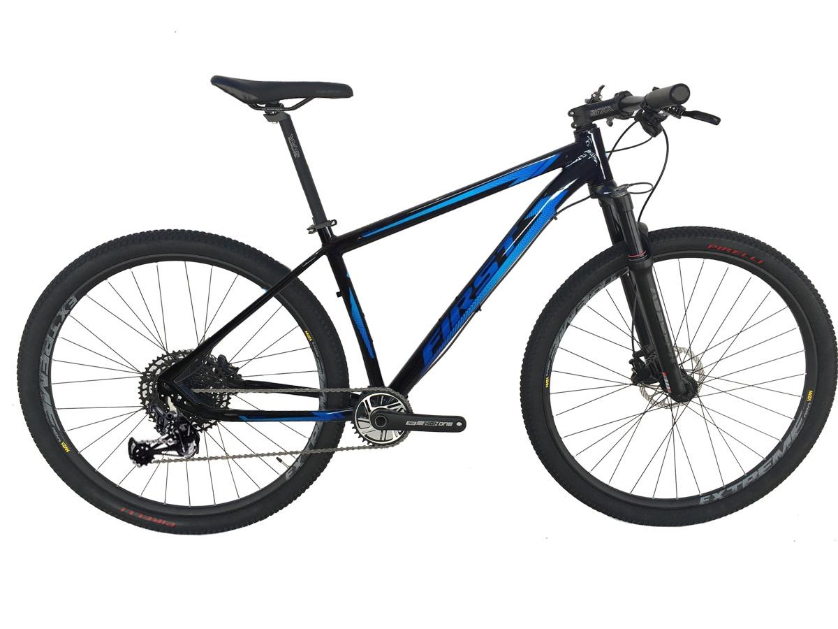 Bicicleta Aro 29 First Smitt Azul Sram Nx Eagle 12 Velocidades Supensão a Ar Freio Hidráulico