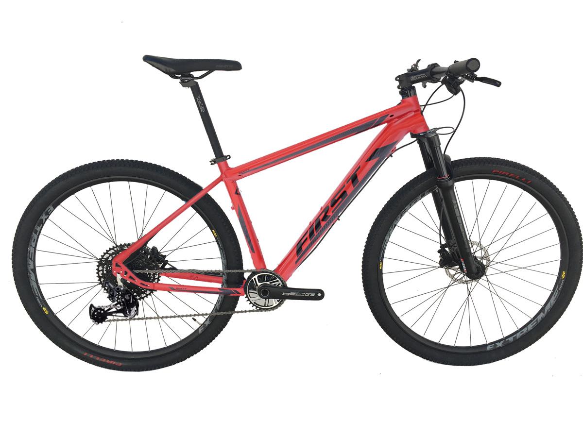Bicicleta Aro 29 First Smitt Vermelha Sram Nx Eagle 12 Velocidades Supensão a Ar Freio Hidráulico