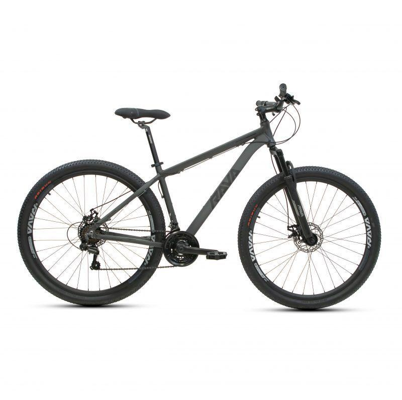 BICICLETA ARO 29 RAVA PRESSURE 21 VELOCIDADES CÂMBIO SHIMANO CINZA/PRETO (2021)