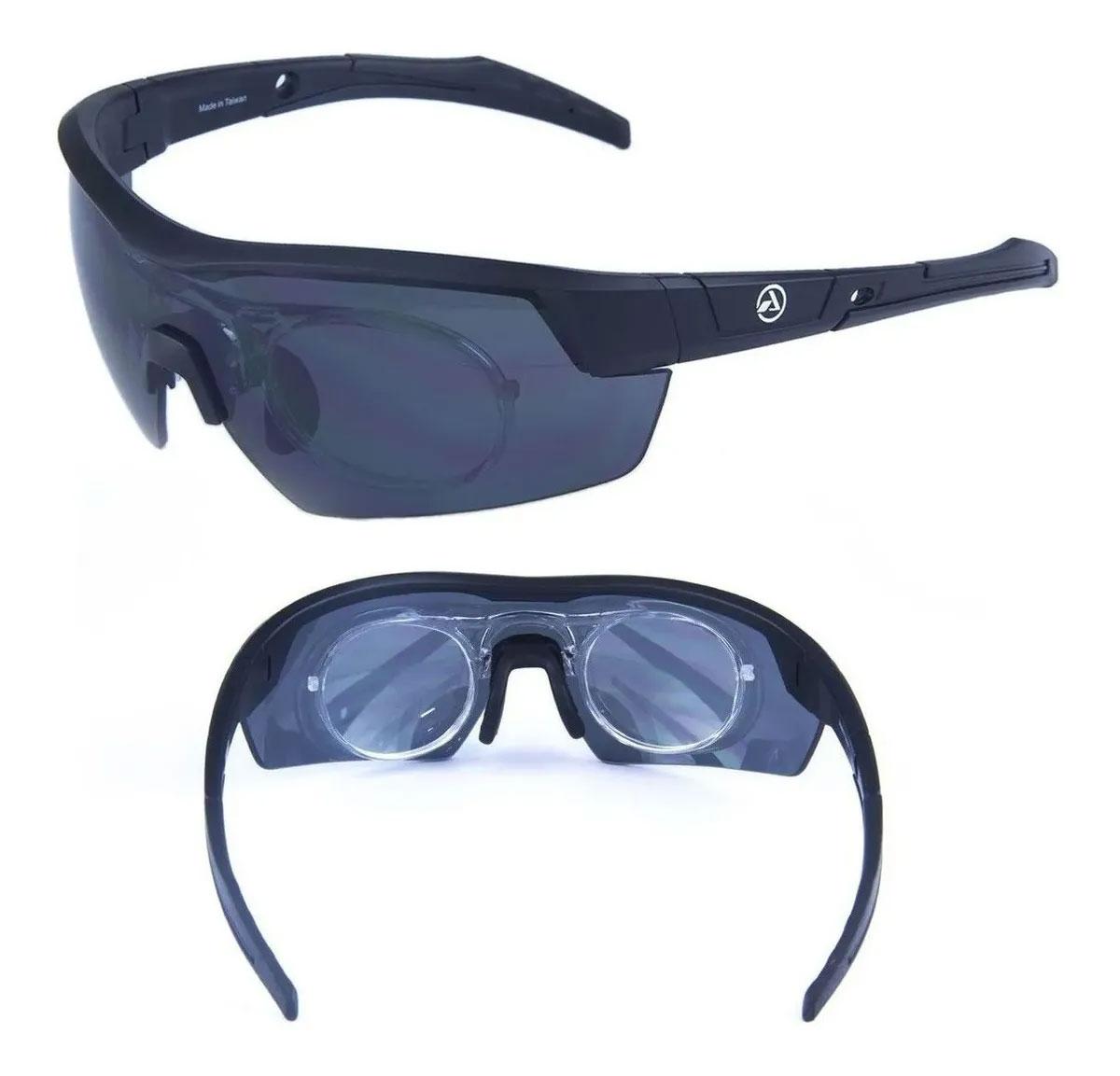 Óculos Absolute Race Rx Preto Lente Cinza Compatível Rx Clip