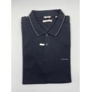 Camisa Polo Calvin Klein Gola Bordada Preta