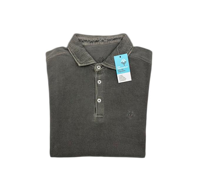 Camisa Polo Manga Longa Cinza Escuro