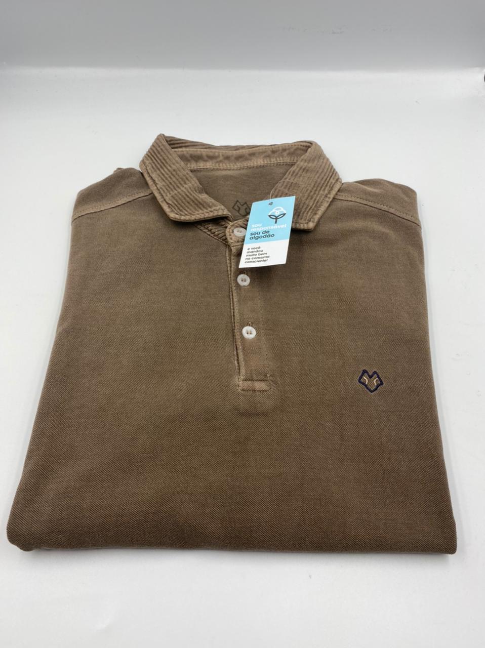 Camisa Polo Manga Longa Marrom