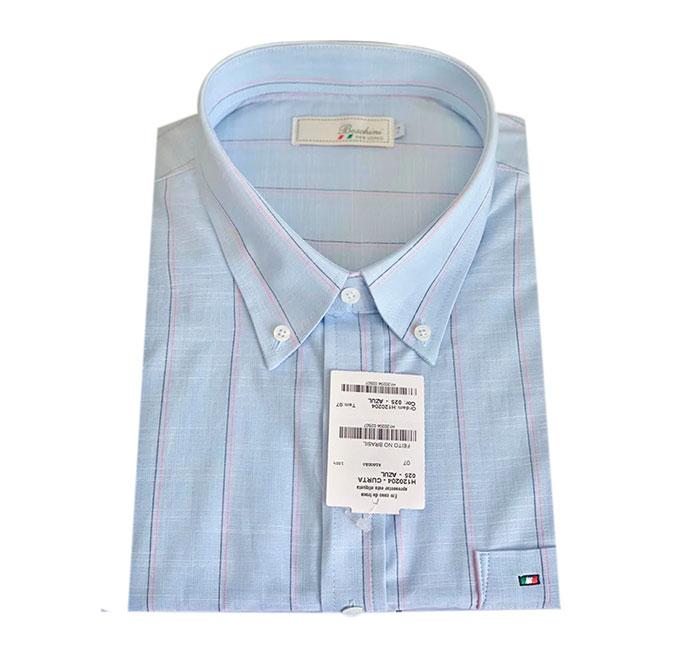 Camisa Social Manga Curta Masculina Plus Size Azul Listrada