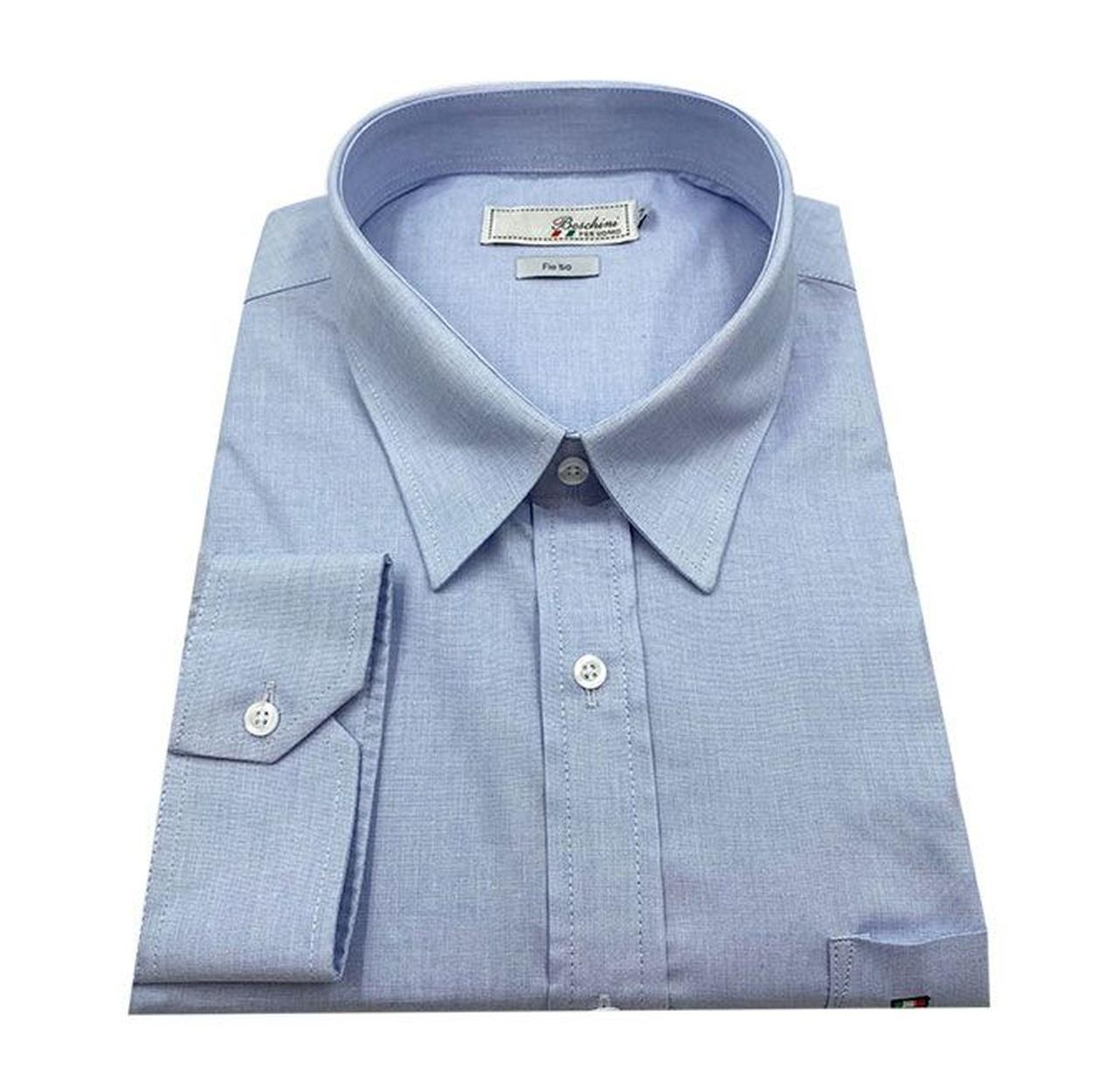 Camisa Social Manga Longa Masculina Plus Size Azul Claro