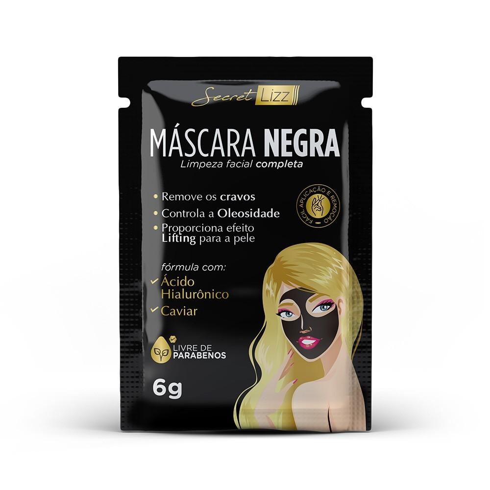 Máscara Negra de Limpeza Facial Completa Secret Lizz 6g