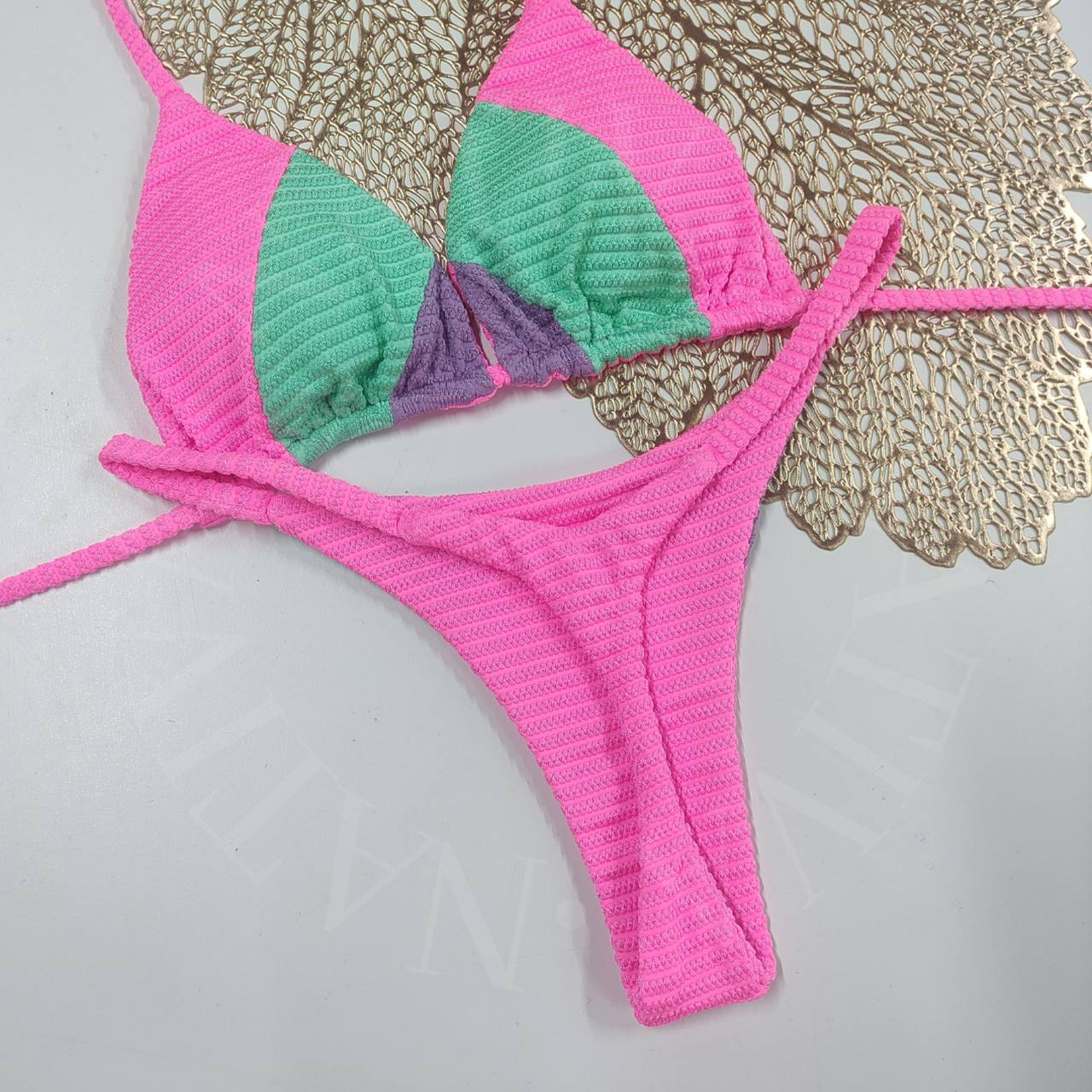 Conjunto com bojo 014 - Rosa/Verde Água/Lavanda