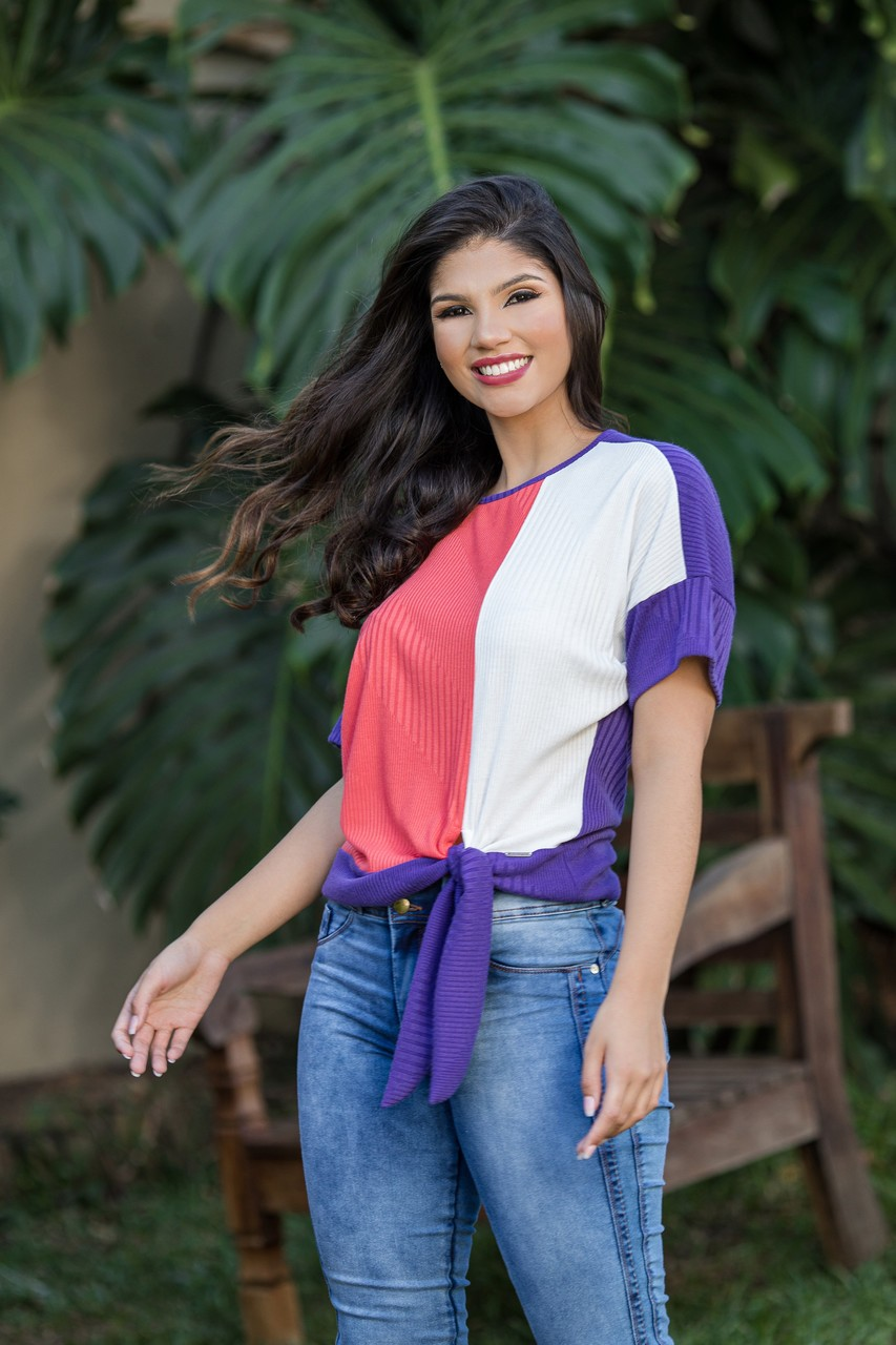 Blusa Canelada Tricolor