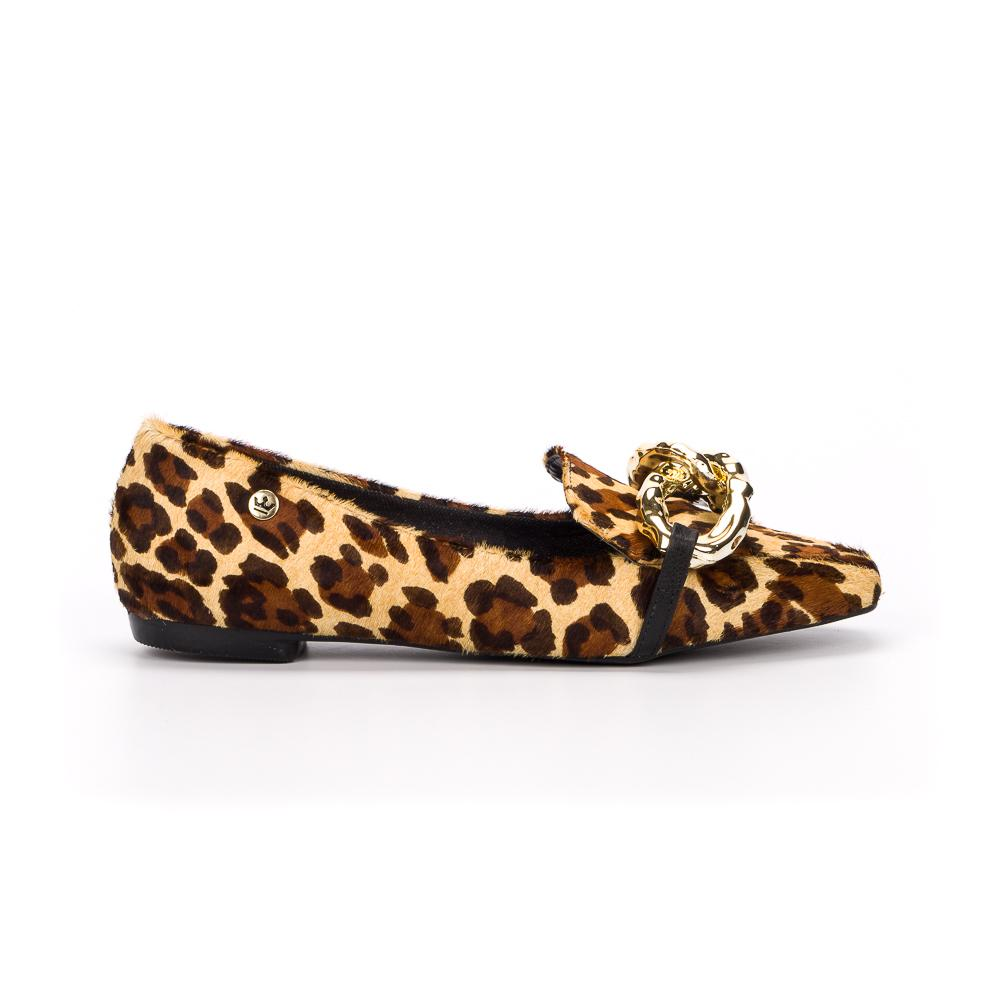 Loafer Ana Alice couro onca bege