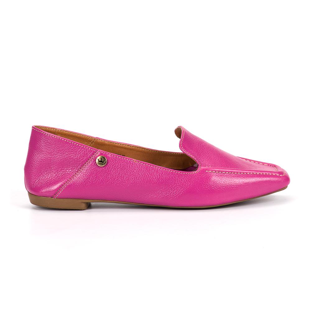 Loafer Livia couro fúcsia