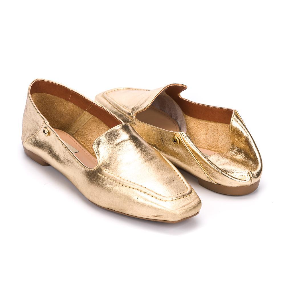 Loafer Livia couro metalizado ouro light