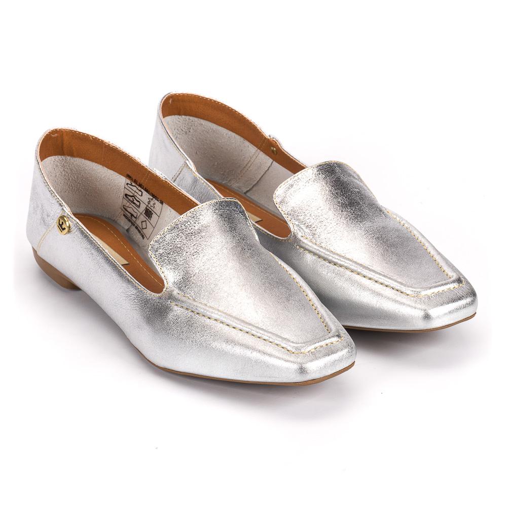 Loafer Livia couro metalizado prata
