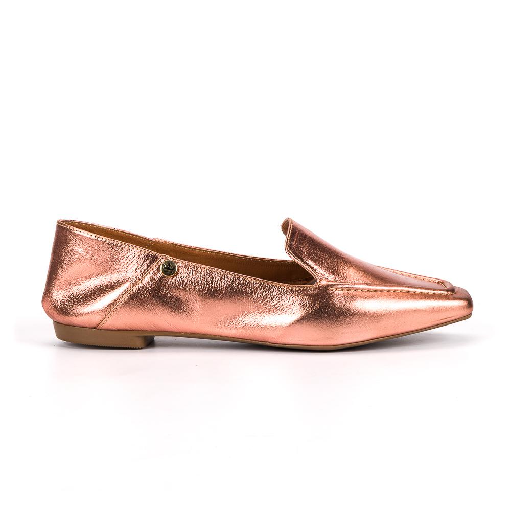 Loafer Livia couro metalizado rose