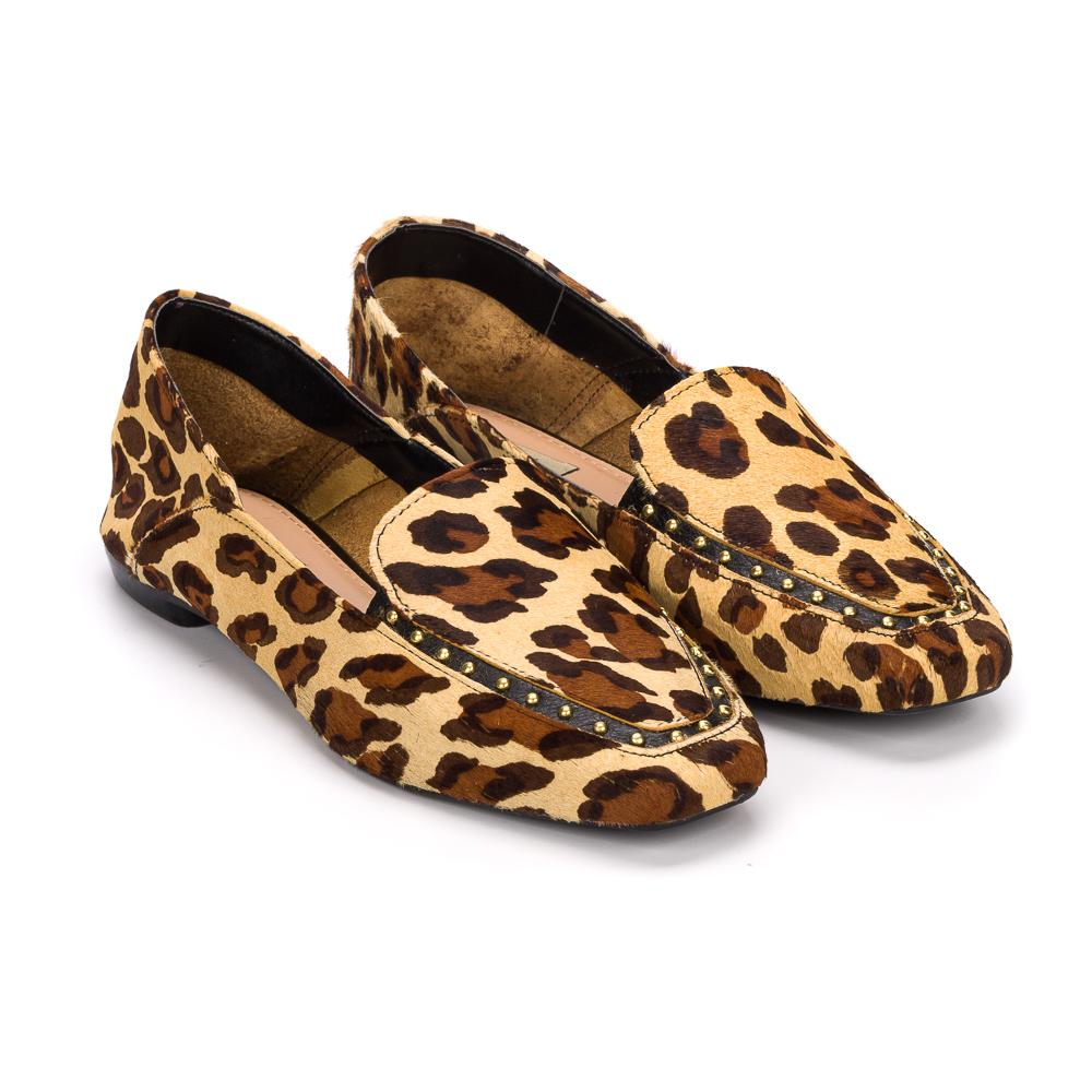 Loafer stephanie couro onca bege