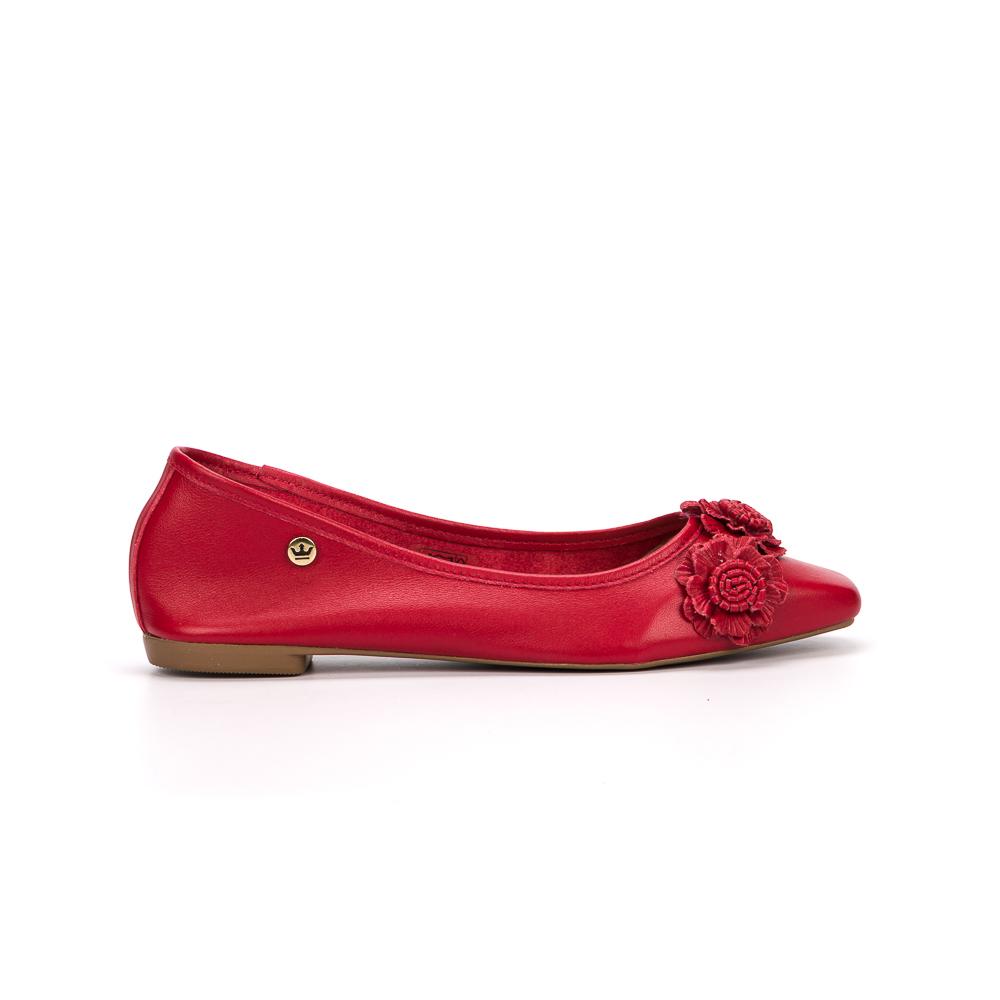 Sapatilha flat Aline couro vermelho
