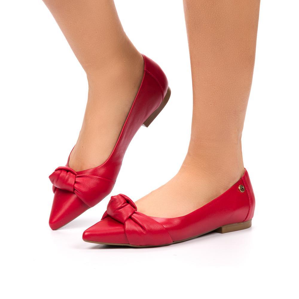 sapatilha Milena couro vermelho