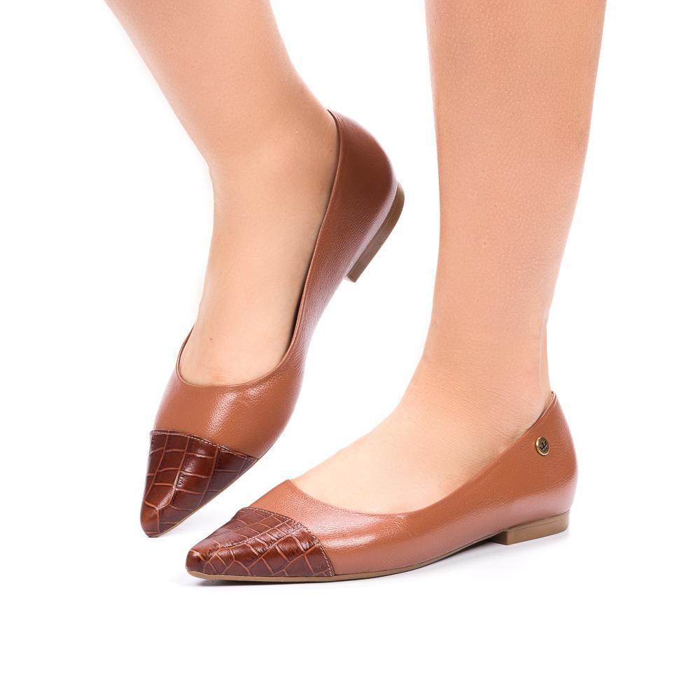 sapatilha Thais couro caramelo