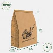 Saco Kraft Delivery M - Uma delícia de Hambúrguer (mod 01) - 100 unidades