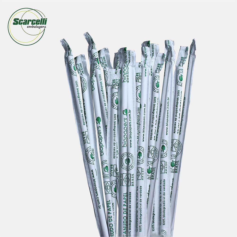 Canudo de papel branco agua/refri 06mmx21cm 4 caixas c/250 unidades