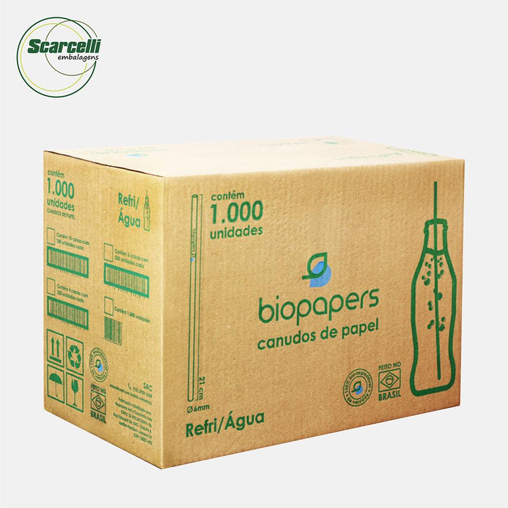 Canudo de papel branco agua/refri 06mmx21cm caixa c/1000 Unidades