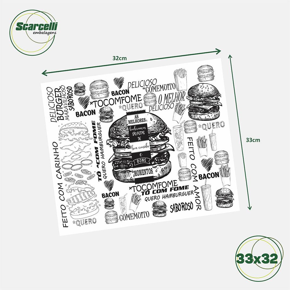 Folha de Papel Acoplado Branco para hamburguer N°01 - 33×32 - 1.000 Folhas