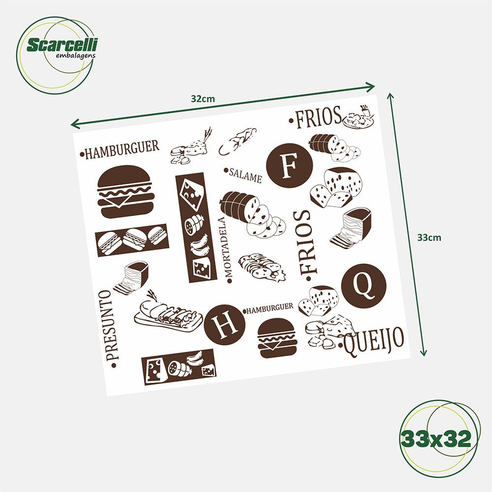 Folha de Papel Acoplado Branco para Hambúrguer - N°01 - 33x32cm - 1.000 folhas