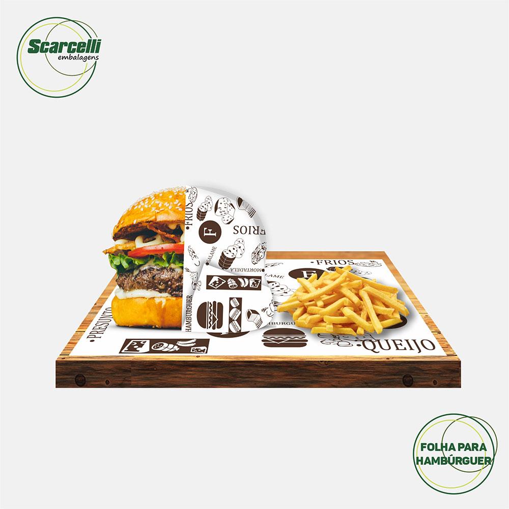 Folha de Papel Acoplado Branco para Hambúrguer N°02 - 33x38cm - 1.000 folhas