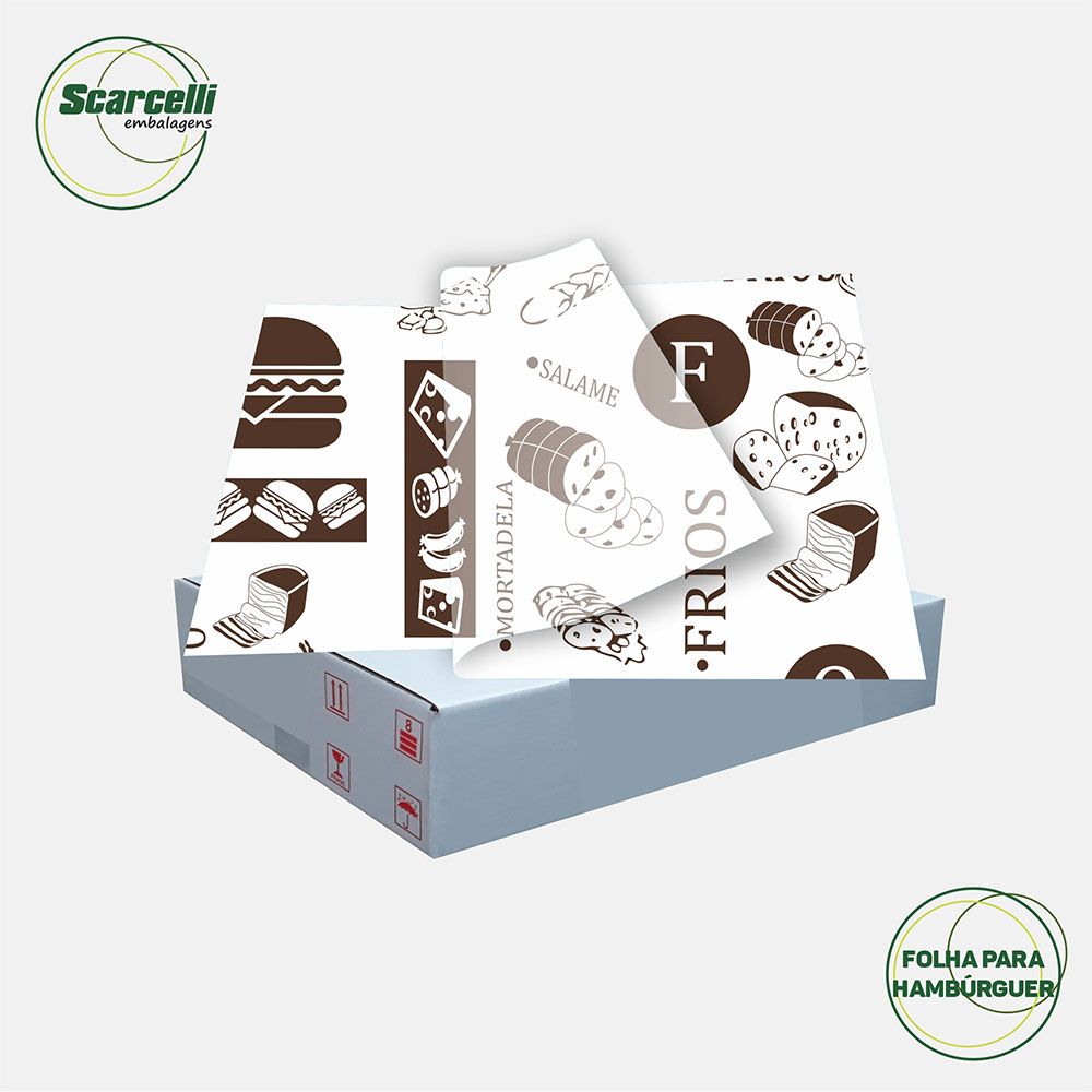 Folha de Papel Acoplado Branco para Hambúrguer N°03 - 33x44cm - 1.000 folhas