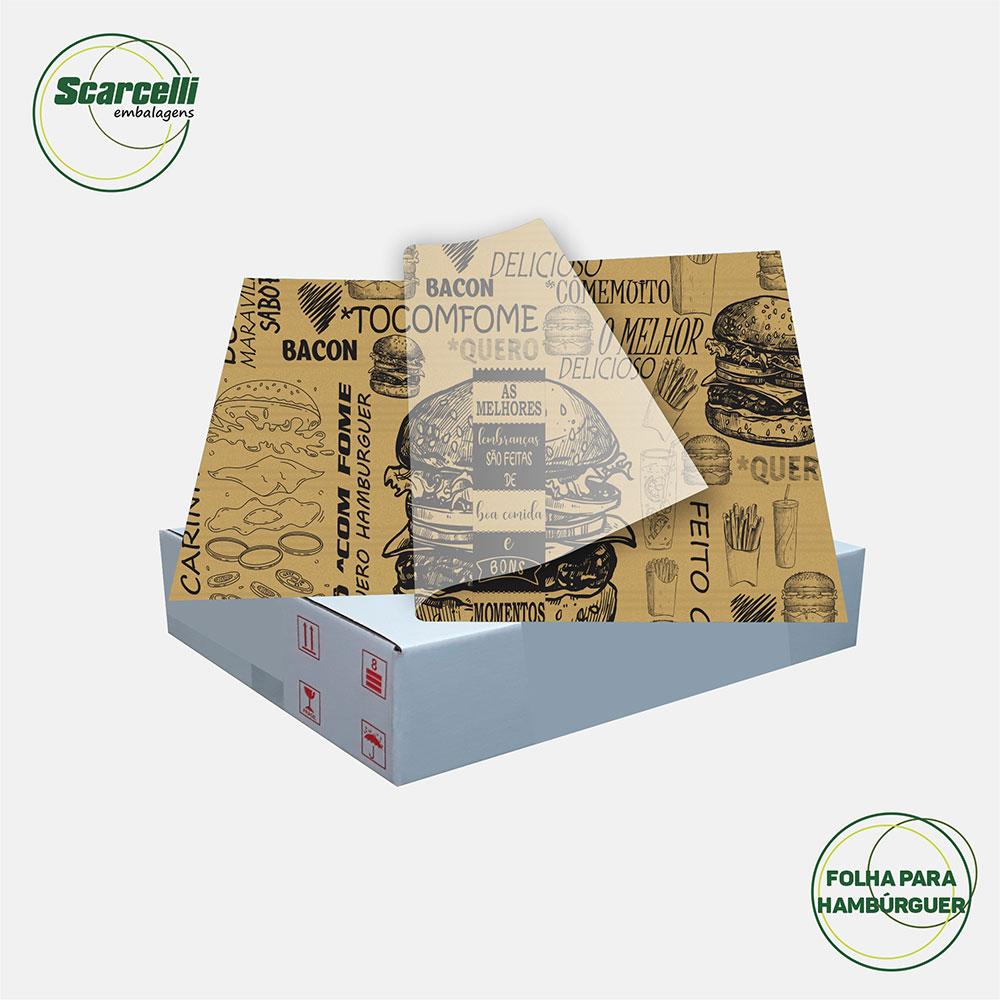 Folha de Papel Acoplado Pardo para hamburguer N°01 - 33×32 - 1.000 Folhas