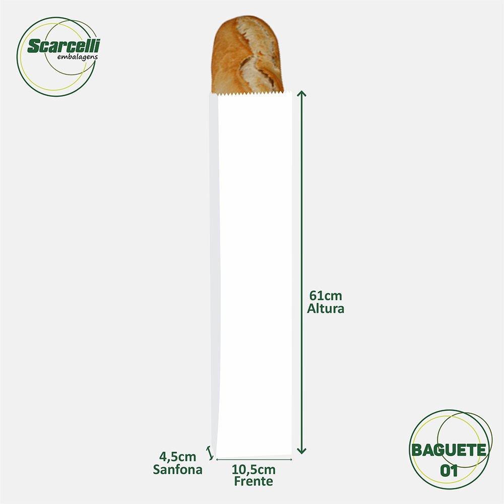 Saco de Papel Kraft Branco Baguete N°01 - 500 unidades