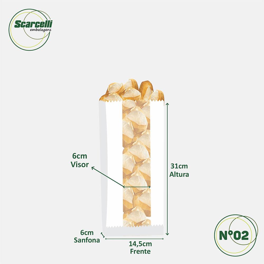 Saco de Papel Kraft Branco com visor - impresso - Pratique Exercícios N°02 - 500 unidades