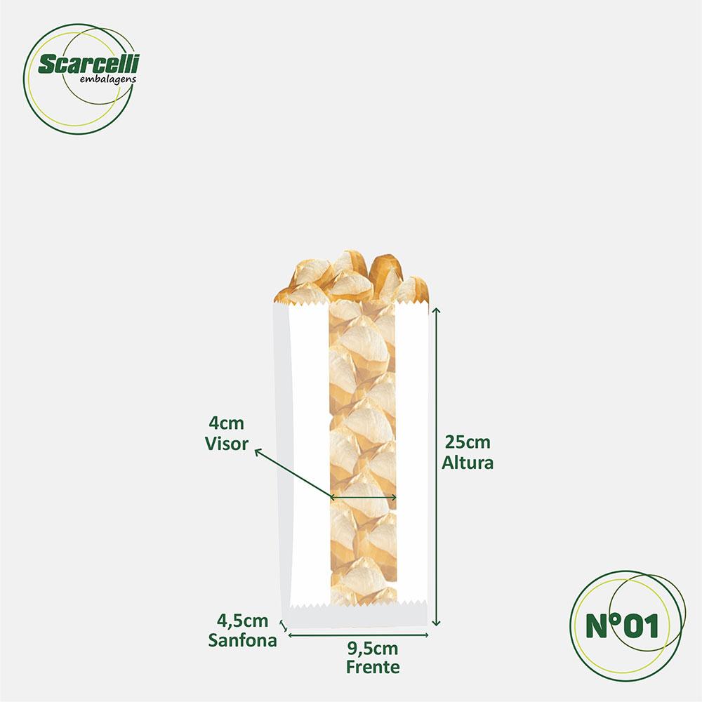 Saco de Papel Kraft Branco com visor - impresso - Preserve a Natureza N° 01 - 500 unidades