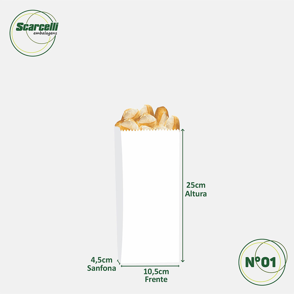 Saco de Papel Kraft Branco Nº01 - 500 unidades