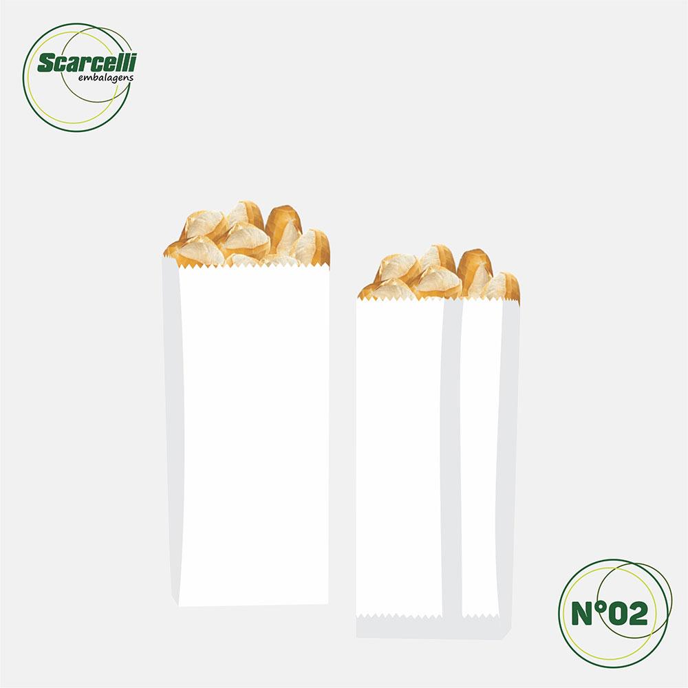 Saco de Papel Kraft Branco Nº02 - 500 unidades