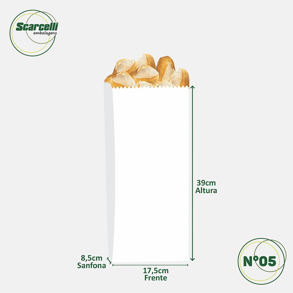 Saco de Papel Kraft Branco Nº 05 - 500 unidades