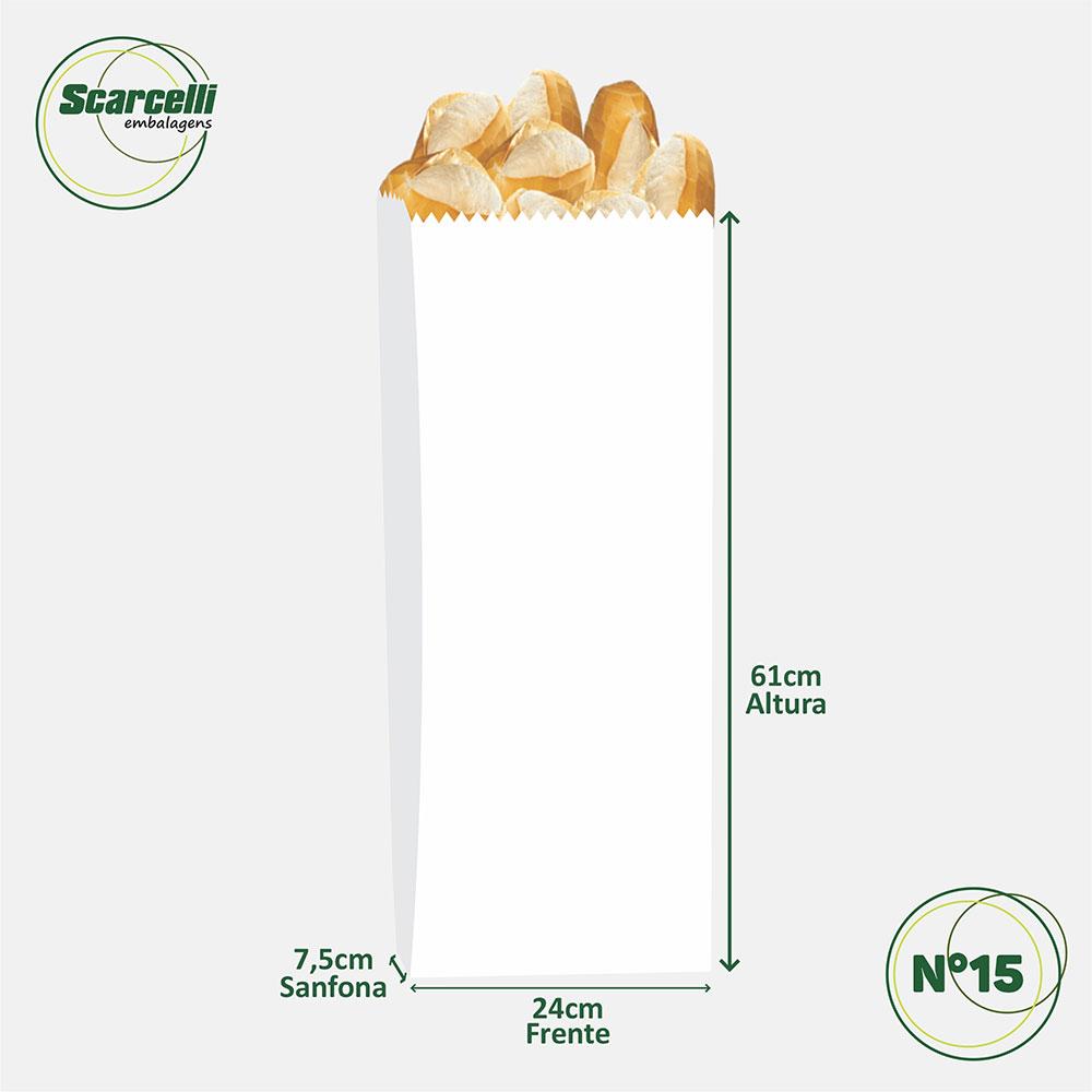 Saco de Papel Kraft Branco Nº 15 - 500 unidades