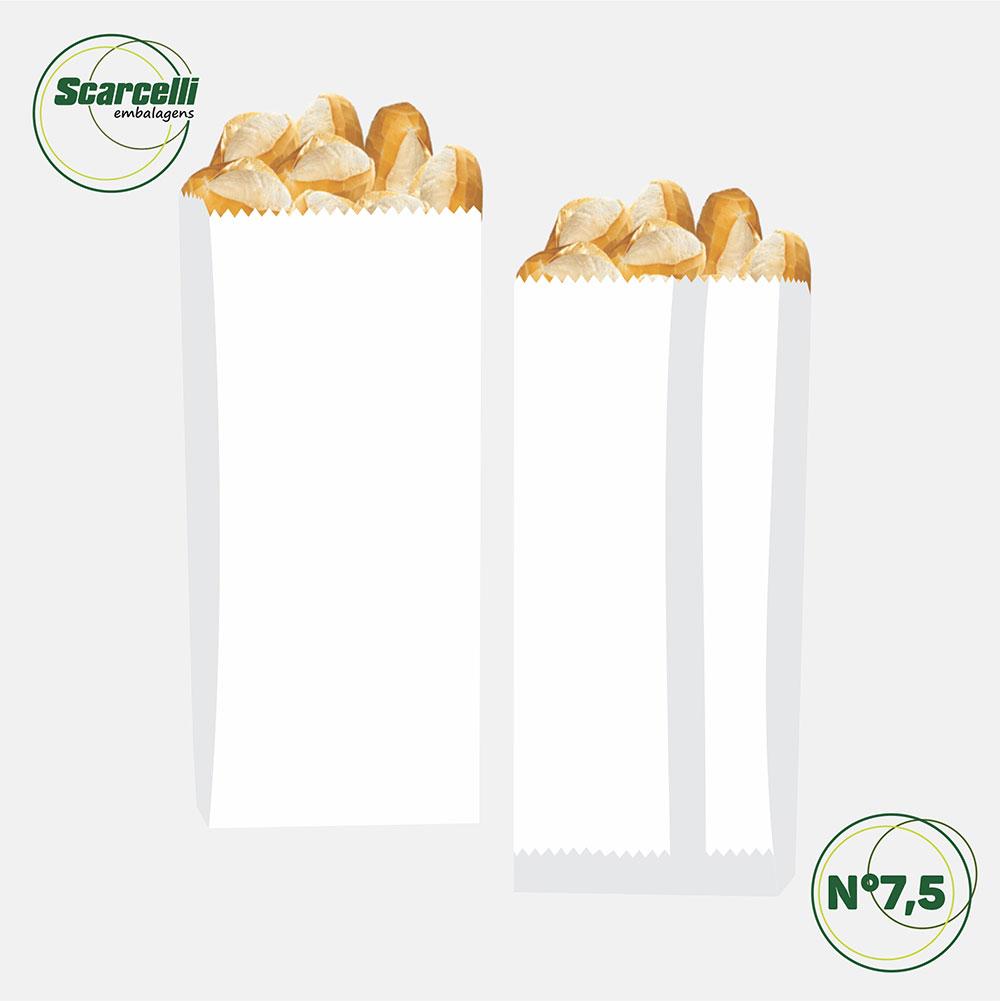 Saco de Papel Kraft Branco Nº 7.5 - 500 unidades