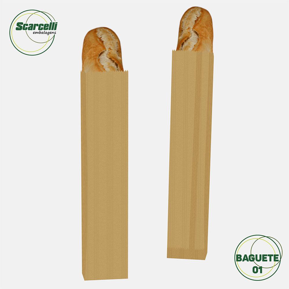 Saco de Papel Kraft Pardo Baguete N°01- 500 unidades