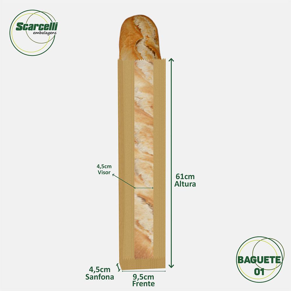 Saco de Papel Kraft Pardo com Visor Baguete N°01 - 500 unidades