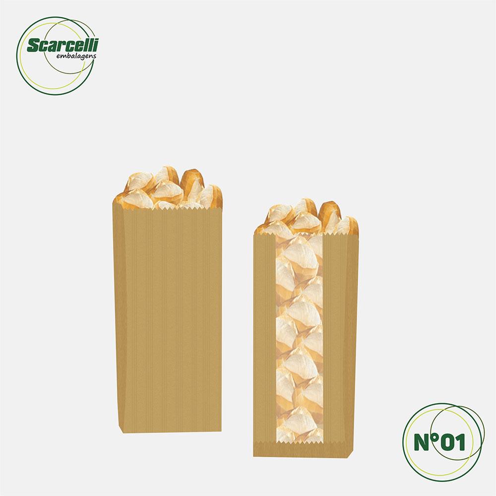 Saco de Papel Kraft Pardo com Visor Nº01 - 500 unidades
