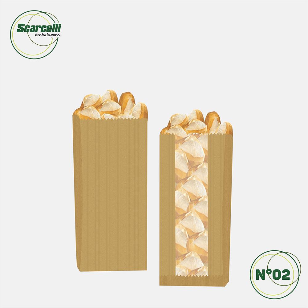 Saco de Papel Kraft Pardo com Visor Nº02 - 500 unidades