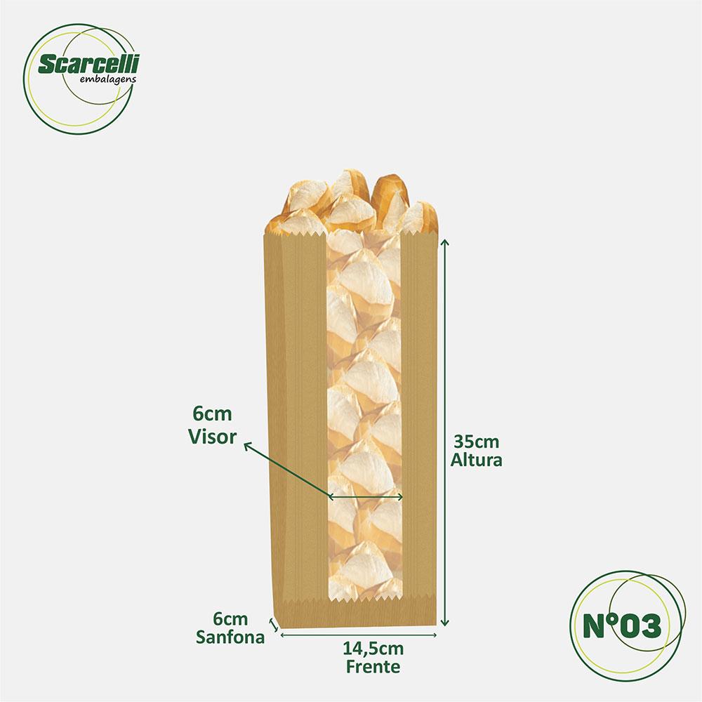 Saco de Papel Kraft Pardo com Visor Nº03 - 500 unidades