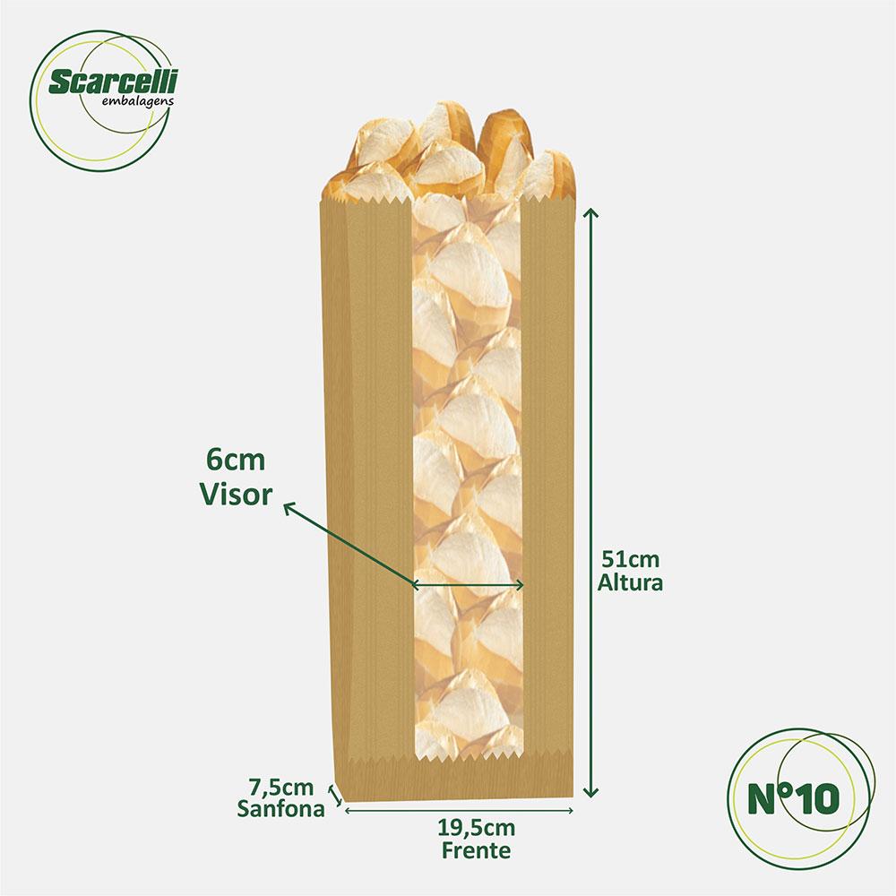 Saco de Papel Kraft Pardo com Visor Nº10 - 500 unidades