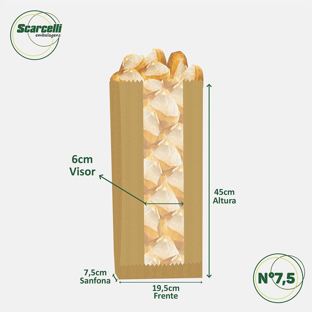 Saco de Papel Kraft Pardo com Visor Nº 7.5 - 500 unidades