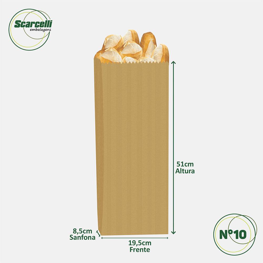 Saco de Papel Kraft Pardo Nº10 - 500 unidades