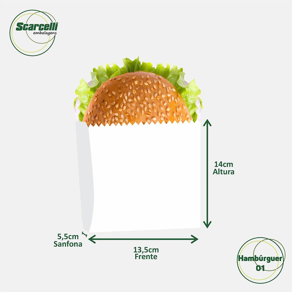 Saco de papel para Hambúrguer - N°01 - 1000 unidades