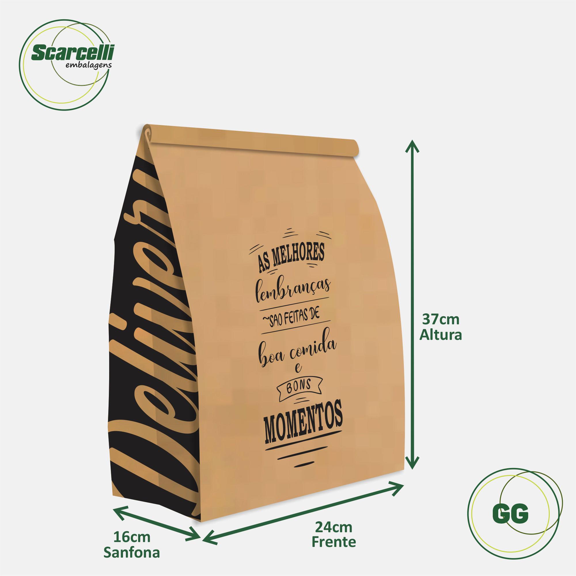 Saco Kraft Delivery GG - As melhores Lembranças (mod 04) - 100 unidades