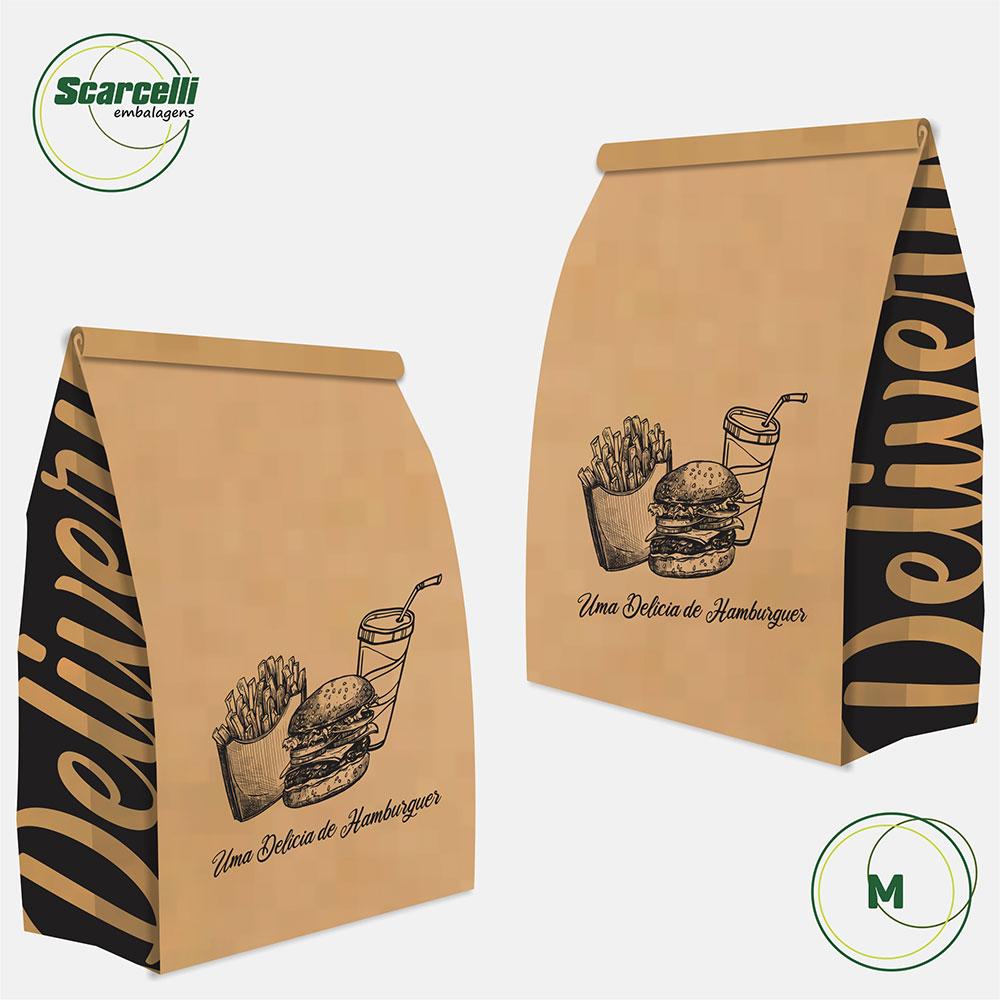 Saco Kraft Delivery M - Uma delícia de Hambúrguer (mod 03) - 100 unidades
